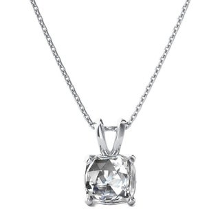 Sterling Silver Cushion Shape White Topaz Pendant With 18 inch Chain