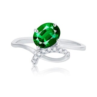 Sterling Silver Oval-Cut Green Emerald and White Topaz Ring