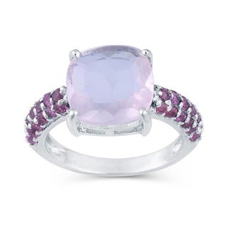 Sterling silver with Rose Quartz & Rhodolite Garnet Ring