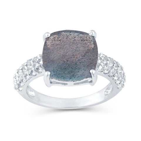 Sterling Silver with Labradorite & White Topaz Ring