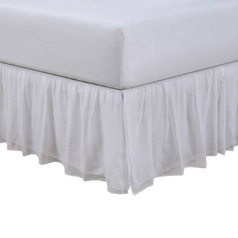 Cotton Voile Ivory 15-inch Bed Skirt