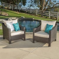 Antibes Outdoor Wicker Club Chair with Cushions in Grey with Silver(Set of 2) by Christopher Knight Home (As Is Item)