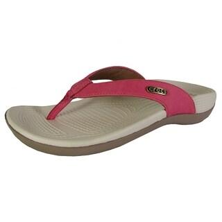 Crocs Womens Ella Comfortpath Flip Flop Shoes, Poppy/Mushroom
