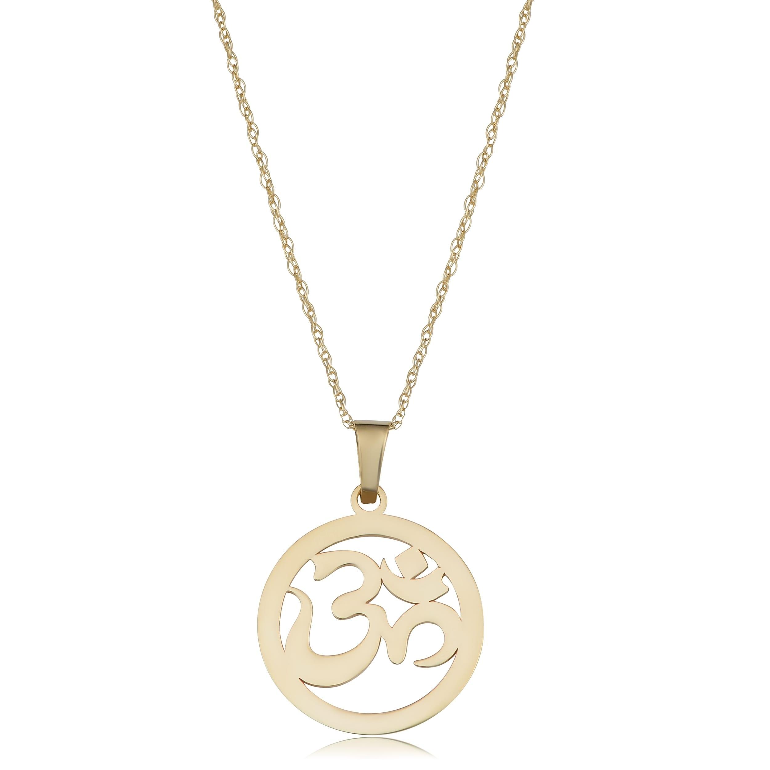 14k White Gold Rope Open Circle 4 Diamonds Hindu Yoga Om Aum Pendant Necklace