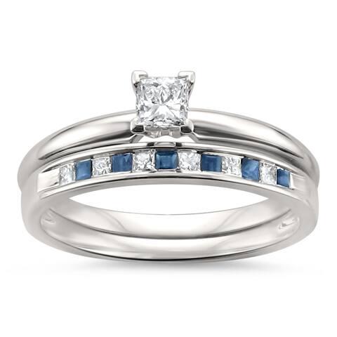 Montebello 14KT White Gold 1/2ct TGW Diamond and Sapphire Bridal Set