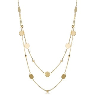 Link to Fremada 14k Gold Beads and Disc Station Necklace (yellow gold or rose gold) Similar Items in Fashion Jewelry Store