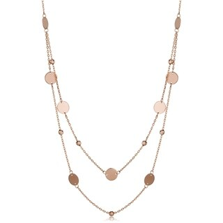 Fremada 14k Gold Beads and Disc Station Necklace (yellow gold or rose gold)