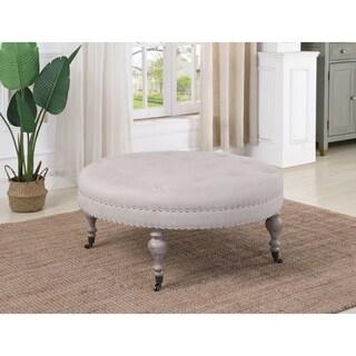 Best Master Furniture Neutral Grey Round Tufted Ottoman