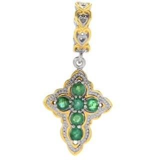 Michael Valitutti Palladium Silver Emerald Cross Drop Charm