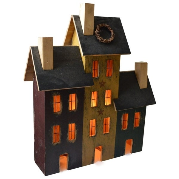 American Primitive Rustic Light Up Delancey Trio of 3 Saltbox Houses