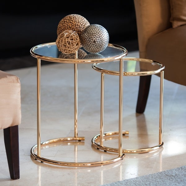 Danya B Nested Round End Side Tables Gold With Clear Gl Set Of 2