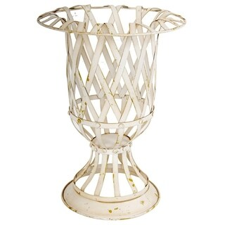 Rustically Charmed Small Metal Lattice Urn, White