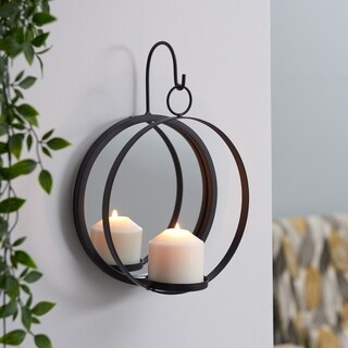 Danya B. Round Iron Pillar Candle Sconce with Mirror