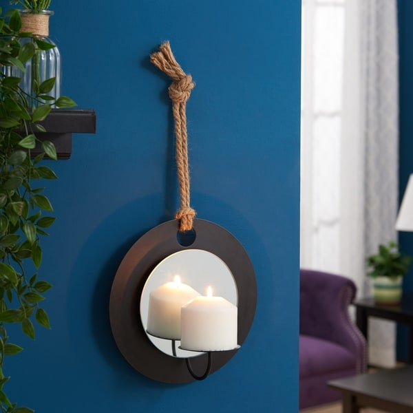 Danya B. Pillar Candle Sconce with Rope and Mirror Wall Accent