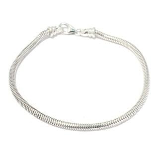 Michael Valitutti Palladium Silver Snake Chain Bracelet w/ Twist Off Clasp