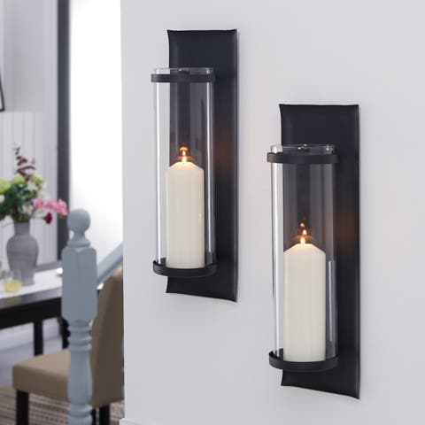678d6ff12ce Danya B. Metal Pillar Candle Sconces with Glass Inserts (Set of 2)