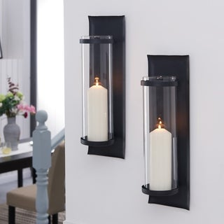 Danya B. Metal Pillar Candle Sconces with Glass Inserts (Set of 2)