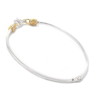 Michael Valitutti Palladium Silver Two-Tone Twist Off Cap Bangle Bracelet