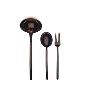 3-piece Stainless Steel w/PVD Titanium Coating Due Bronzo Serving Set (Fork, Spoon, and Ladle)