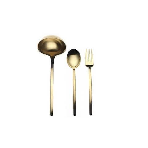 3-piece Stainless Steel w/PVD Titanium Coating Due Ice Oro Serving Set (Fork, Spoon, and Ladle)
