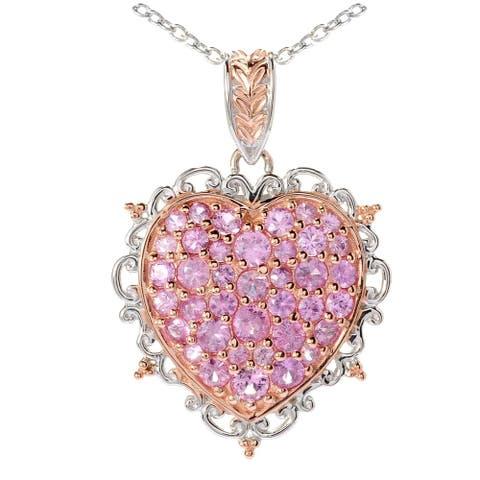 Gems en Vogue Palladium Silver Pink Sapphire Heart Pendant