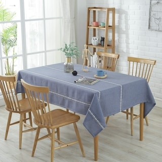 "54""x 72"" Sky Blue High Quality Rectangle Washable Polyester Cotton Tablecloth"