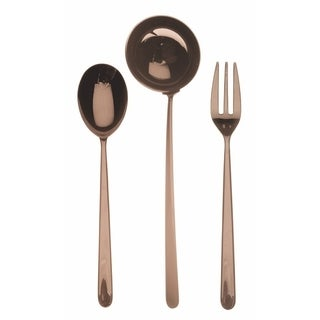 Mepra 3-piece Stainless Steel w/PVD Titanium Coating Linea Bronzo Serving Set (Fork, Spoon, and Ladle)