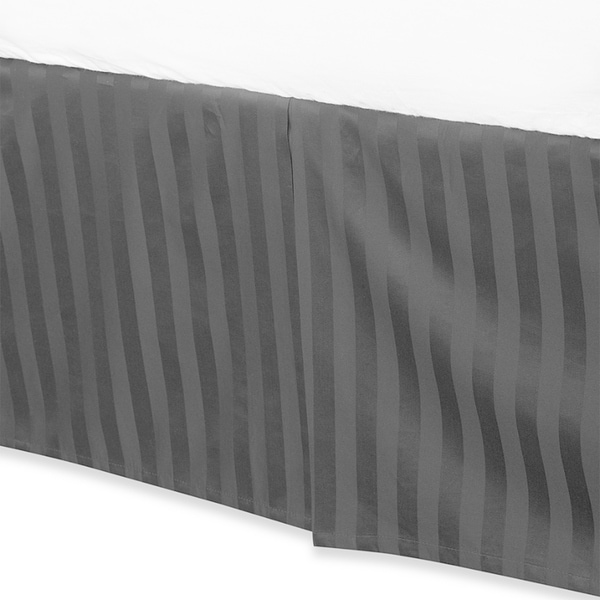 100 Percent Cotton 500 Thread Count Damask Stripe 15-inch Drop Bed Skirt