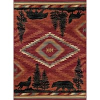 Alise Rugs Natural Lodge Novelty Lodge Area Rug - 7'10 x 10'3