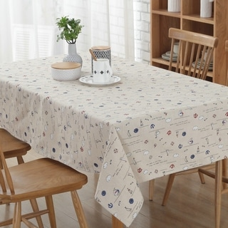 "54""x 72"" White Sailing Natural Simple Rectangle Cotton and Linen Tablecloth - 54""x 72"""