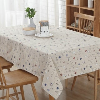 """54""""x 72"""" White Sailing Natural Simple Rectangle Cotton and Linen Tablecloth - 54""""x 72"""""""