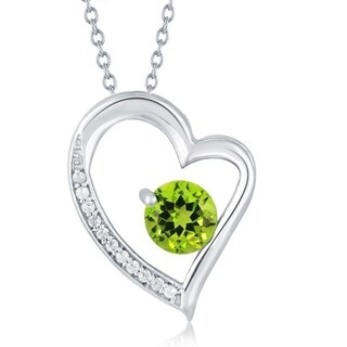 Sterling Silver Peridot and White Topaz Heart Pendant With 18 inch Chain - Green