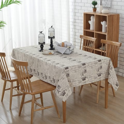 """54""""x 80"""" Eiffel Tower Pattern Rectangle Cotton and Linen Tablecloth - 54""""x 80"""""""
