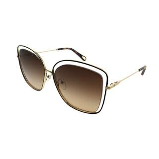 Chloe Square CE 133S 213 Women Gold Havana Frame Brown Gradient Lens Sunglasses