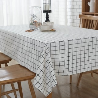"54""x 80"" Natural Simple White Washable Rectangle Cotton and Linen Tablecloth - 54""x 80"""