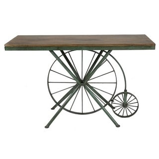 Bike Console Table With Reclaimed Wood Top Patina Green