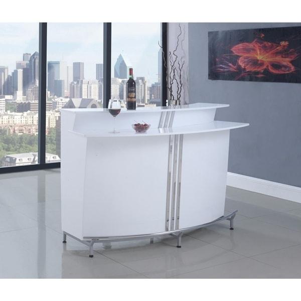 Dazzling Contemporary Bar Unit with Stemware Racks, White