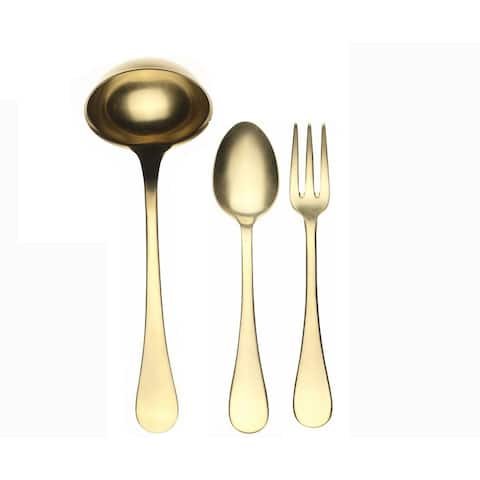 3-piece Stainless Steel w/PVD Titanium Coating Vintage Oro Serving Set (Fork, Spoon, and Ladle)
