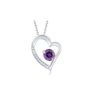 Sterling Silver Amethyst and White Topaz Heart Pendant With 18 inch Chain - Purple