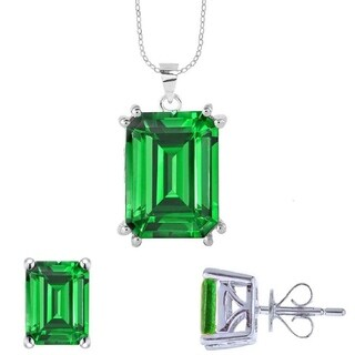 "Sterling Silver Emerald Solitaire Pendant with Chain18"" - Green"