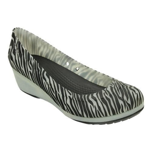 03025e3d2b84 Shop Women s Crocs Carlisa Animal Graphic Wedge Black Oyster - Free  Shipping Today - Overstock - 18660627