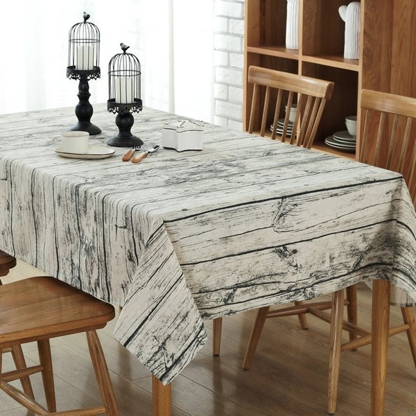"54""x 80"" Vintage Wood Rectangle Cotton and Linen Tablecloth - 54""x 80"". Opens flyout."