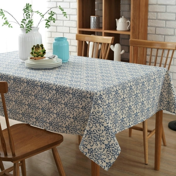 "54""x 80"" China Pattern High Quality Rectangle Cotton and Linen Tablecloth - 54""x 80"""