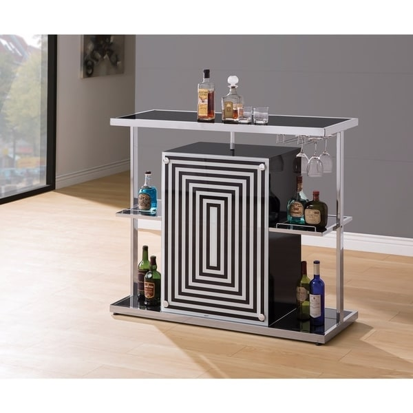 Shop Contemporary Bar Unit With Wine Glass Storage White And Black