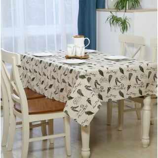 """54""""x 80"""" Green Leaf Pattern Rectangle Washable Cotton and Linen Tablecloth Decoration Table Cover - 54""""x 80"""""""