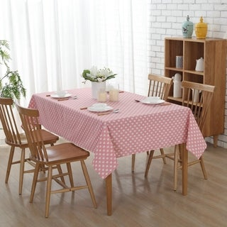 """54""""x 72"""" Pink Love Rectangle Cotton and Linen Tablecloth Decorative Table Top Cover - 54""""x 72"""""""