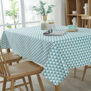 """54""""x 80"""" Green Triangle Pattern Rectangle Wash Cotton and Polyester Tablecloth - 54""""x 80"""""""