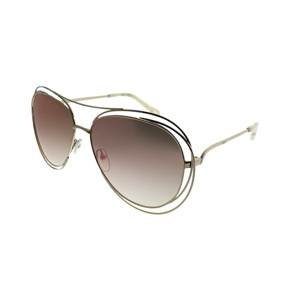 222dc051cc Shop Chloe Aviator CE 134S 794 Women Gold Marble Frame Pink Mirror Lens  Sunglasses - Free Shipping Today - Overstock - 21600284