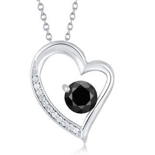 Sterling Silver Black Spinel and White Topaz Heart Pendant With 18 inch Chain
