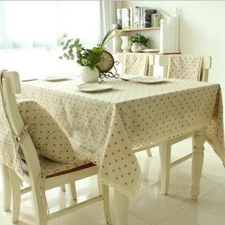 """54""""x 80"""" Cafe Chrysanthemum Rectangle Cotton and Linen Tablecloth Table Cover - 54""""x 80"""""""